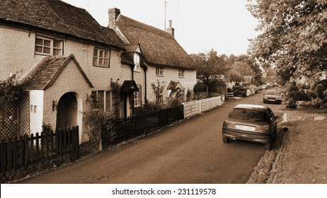 Old English Street in Sepia