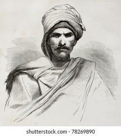 Old engraved portrait of a Bedouin. Created by Pottin after sketch of Bida, published on Le Tour du Monde, Paris, 1864