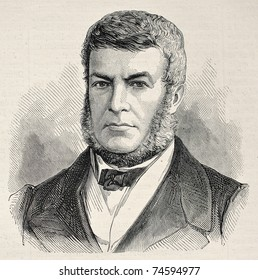 Old engraved portrait of Brazilian Admiral Joaquim Jose Inacio, Viscount of Inahuma. Created by Chenu, published on L'Illustration, Journal Universel, Paris, 1868