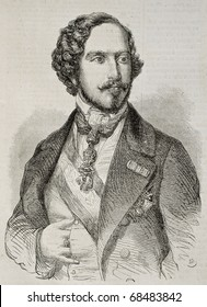 Old engraved portrait of Infante Carlos, Count of Montemolin. Original, from drawing of Marc, was published on L'Illustration, Journal Universel, Paris, 1860