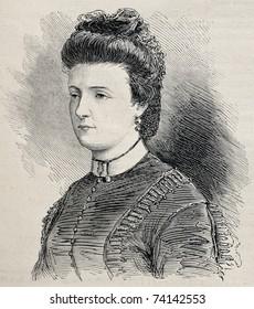 Old engraved portrait of Julie Obrenovich, widow of Prince Mihailo Obrenovich. Created by Janet-Lange after photo of  Disderi, publ. on L'Illustration, Journal Universel, Paris, 1868