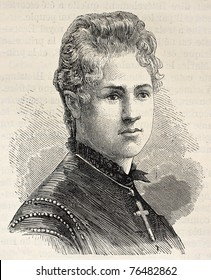 Old engraved portrait of princess Frederica of Hanover. Created by Chenu, published on L'Illustration, Journal Universel, Paris, 1868