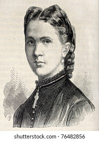 Old engraved portrait of princess Marie of Hanover. Created by Chenu, published on L'Illustration, Journal Universel, Paris, 1868