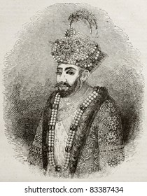 Old engraved portrait of Zahir ad-Din Muhammad, better known as Babur, Muslim conqueror of central Asia in 16th century. Engraved after Indian miniature, published on Magasin Pittoresque, Paris, 1840