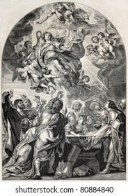 Old engraved reproduction of the Assumption of Mary, by Rubens. Engraved by Jourdain, published on L'Illustration, Journal Universel, Paris, 1857