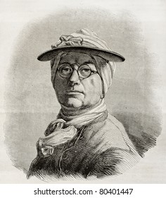 Old engraved self-portrait of Jean Baptiste Simenon Chardin, French painter. Create by Bocourt after Chardin, published on Magasin Pittoresque, Paris, 1850