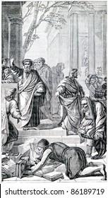 "Old engraving. Ephesians burn the book after the preaching of the Apostle Paul. The book ""History of the Christian Religion"", 1880"
