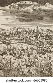 Old engraving shows image of Palermo Battleship between French and Spanish-Dutch fleets. The original illustration was created by A. M. Mallet and was published in Frankfurt in 1684 ca.