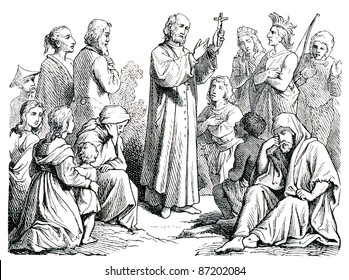 "Old engravings. Depicted preaching missionary. The book ""History of the Church"", circa 1880"
