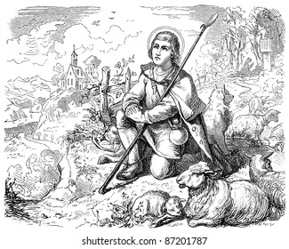 """Old engravings. Depicted Saint Wendelin of Trier. The book """"History of the Church"""", circa 1880"""