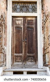 Old entrance door characteristic of old building, ancient stately building in Lombardy