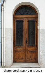 Old entrance door in a small town