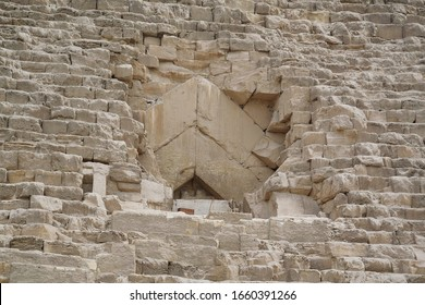 Old entrance inside to Great Pyramid of Giza, also known as Pyramid of Khufu or Cheops in Egypt