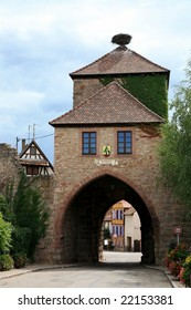 Old entry gate to the Dambach small town - Alsace, France, Route des vines.