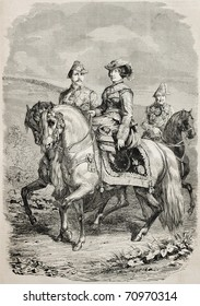 Old equestrian portrait of Isabella II Queen of Spain with her King consort. Original, from drawing of  Hofer, on a picture of Porion, was published on L'Illustration, Journal Universel, Paris, 1860