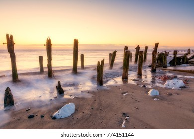 Old eroded sea defenses at the Yorkshire nature reserve of Spurn point