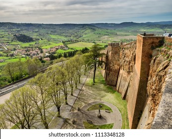The old etruscan city walls in Orvieto, Umbria Italy
