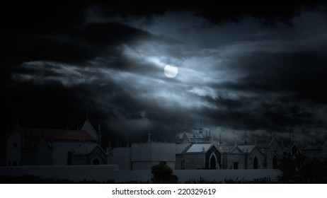 Old european cemetery in a cloudy full moon night. Added some digital noise.