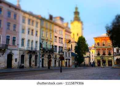 Old european early morning city square. Tilt-shift effect