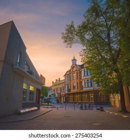 Old european streets of ukrainian western city Ivano-Frankivsk. Evening time.