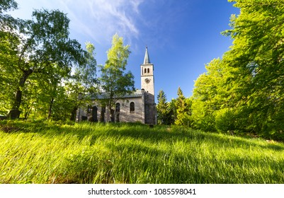 Old Evangelical church and graveyard in the Wood and grass