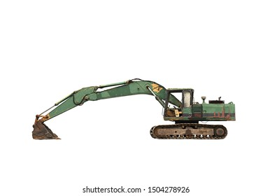 Old excavator isolated on white background.
