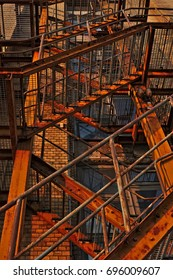 Old external steel fire escape stair