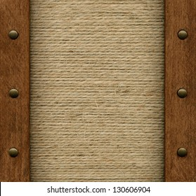 Old fabric in wooden frame