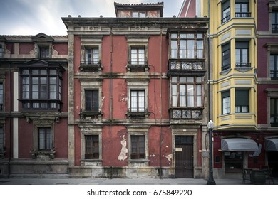 Old facade of a building in Gijon, Asturias.