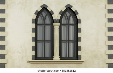 Old facade with mullioned gothic window with stone frame and column- 3D Rendering & Mullion Windows Images Stock Photos u0026 Vectors | Shutterstock