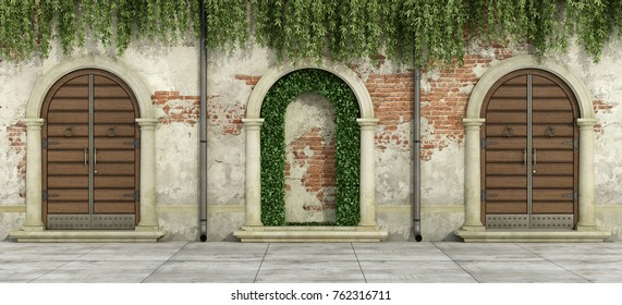 Old facade with wooden doorways and niche with hedges - 3d rendering