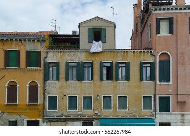old facades of buildings in Venice, Italy