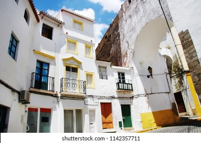 old facades in street of Elvas,south of  Portugal