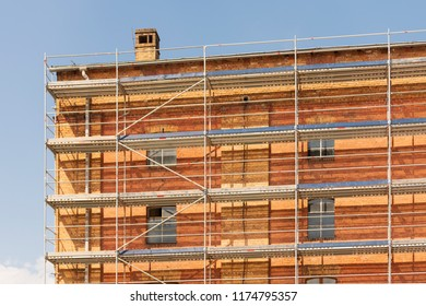 Old factory building with scaffolding