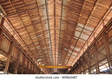 Old factory roof steel structure