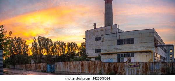 old factory with sunset look like Chernobyl