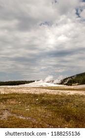 Old Faithful erupting at Yellowstone National Park