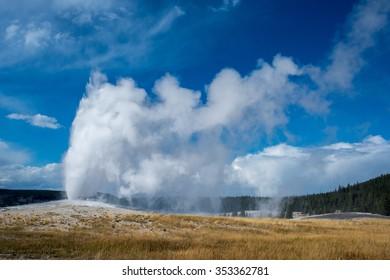 Old Faithful geyser erupting in Yellowstone.