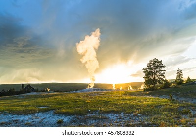 Old faithful on the sunset,summer, in Yellowstone National park,usa.