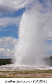 Old Faithful shooting steaming hot water into the air.