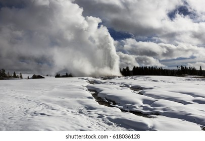 Old Faithful, Winter, Yellowstone National Park, Wyoming