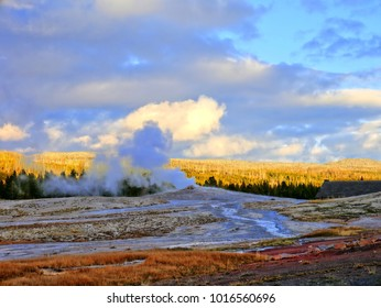 Old Faithful in Yellowstone (Wyoming, United States) is beautiful, yet scary knowing it is part of a super volcano. Watch the billowing steam and boiling water