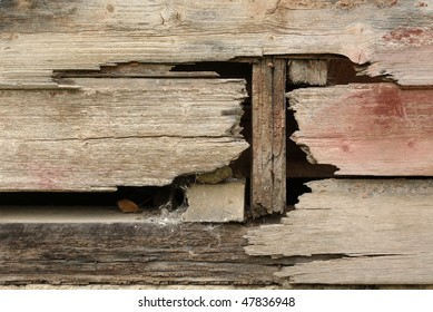 old falling apart grungy wooden wall