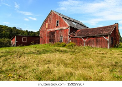 An old falling down barn in rural back-country Vermont.
