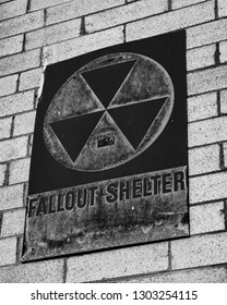 Old Fallout Shelter Sign in Black and White