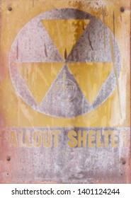 Old fallout shelter sign from New York city, Coney Island.