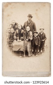 old family photo. parents with five children. nostalgic vintage picture