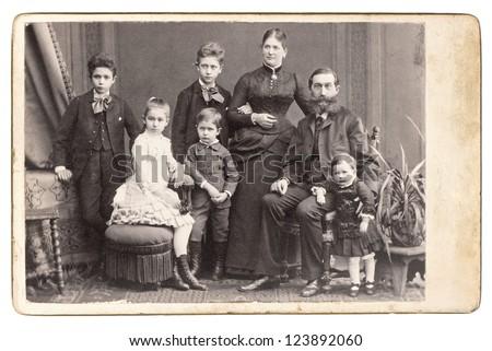 Old Family Photo Parents Five Children Stockfoto Jetzt Bearbeiten