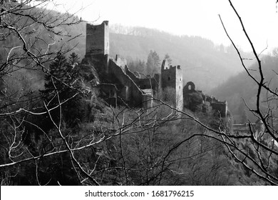 An old famous castle looks like painted or like a very old photo