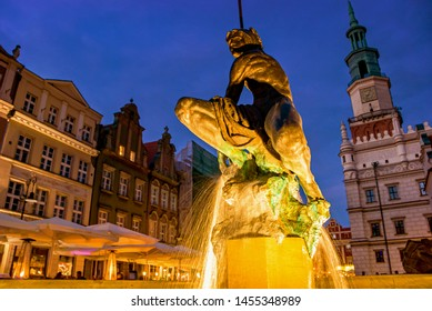 Old famous square market with restaurants and cafe in Poznan at night